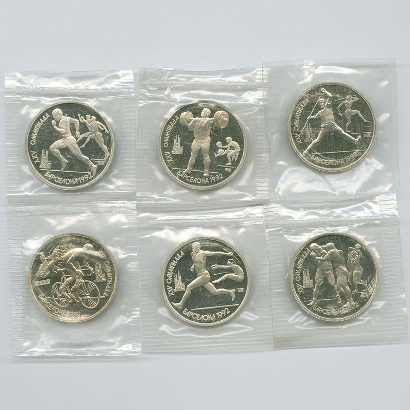 Барселона 6 монет в запайках 1 рубль 1991