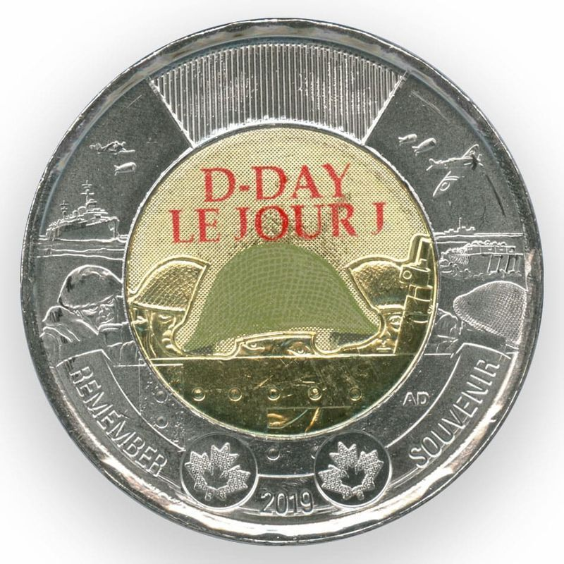 75 лет высадке союзников в Нормандии 2 доллара 2019 Канада