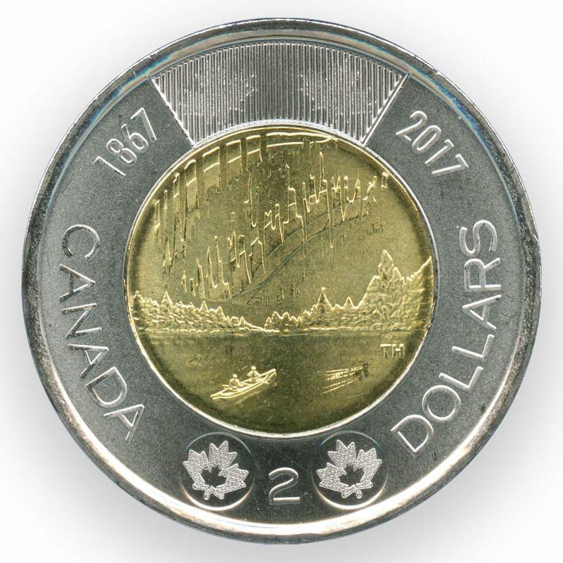 Полярное сияние 2 доллара 2017 Канада