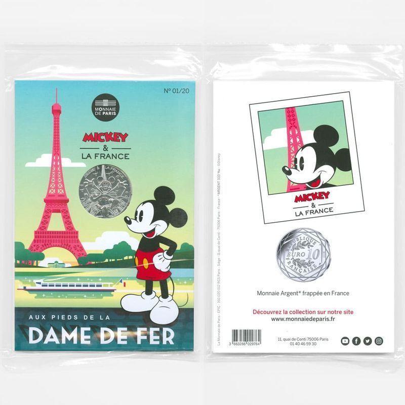 Микки Маус.Эйфелева башня 10 евро 2018 Франция (Серебро 0,333 17,00 гр)