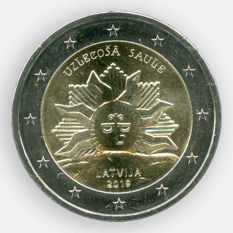 Восходящие солнце 2 евро 2019 Латвия