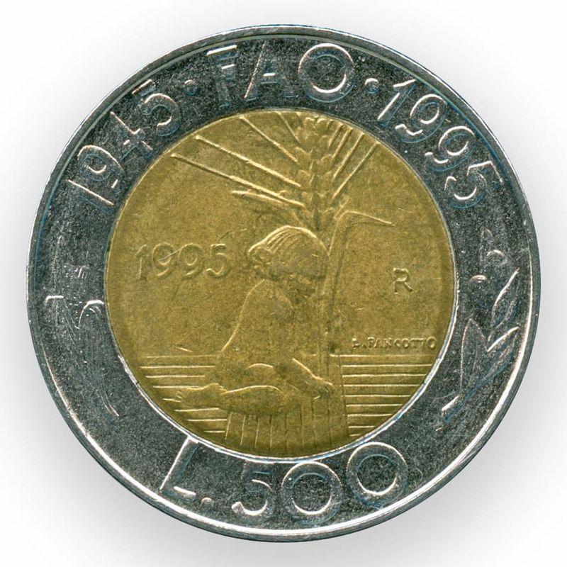 ФАО 500 лир 1995 Сан-Марино (сост. XFine)
