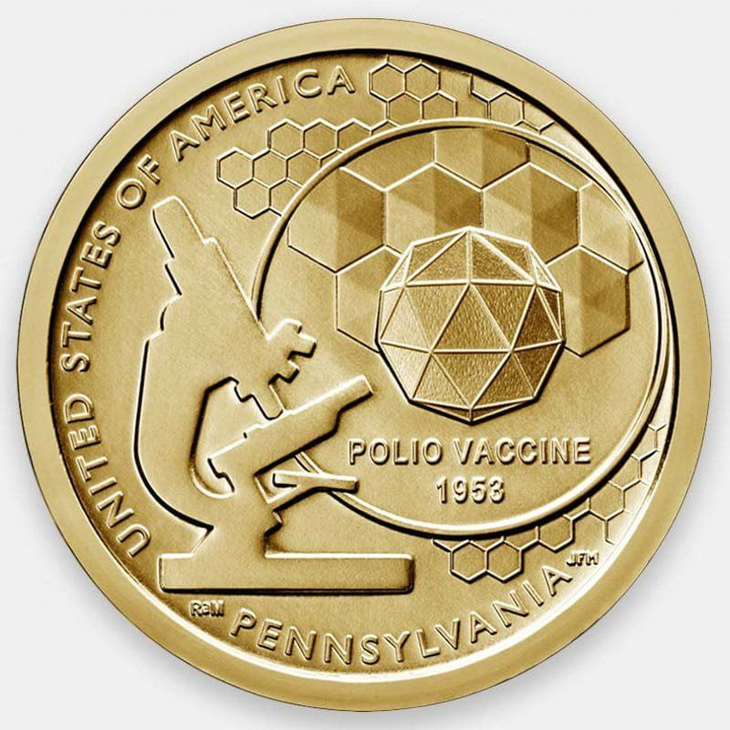 Вакцина против полиомиелита. Американские инновации 1 доллар 2019 США (D)