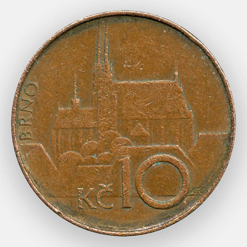 10 крон 1993-2019 Чехия (сост. Very Fine)