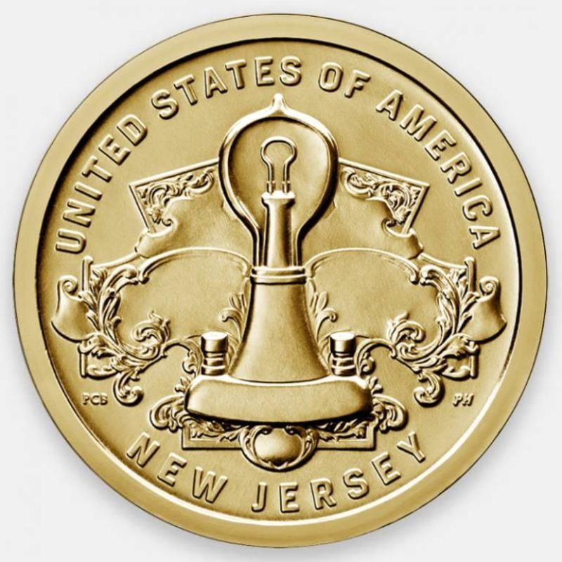 Лампа накаливания Томаса Эдисона. Американские инновации 1 доллар 2019 США (D)