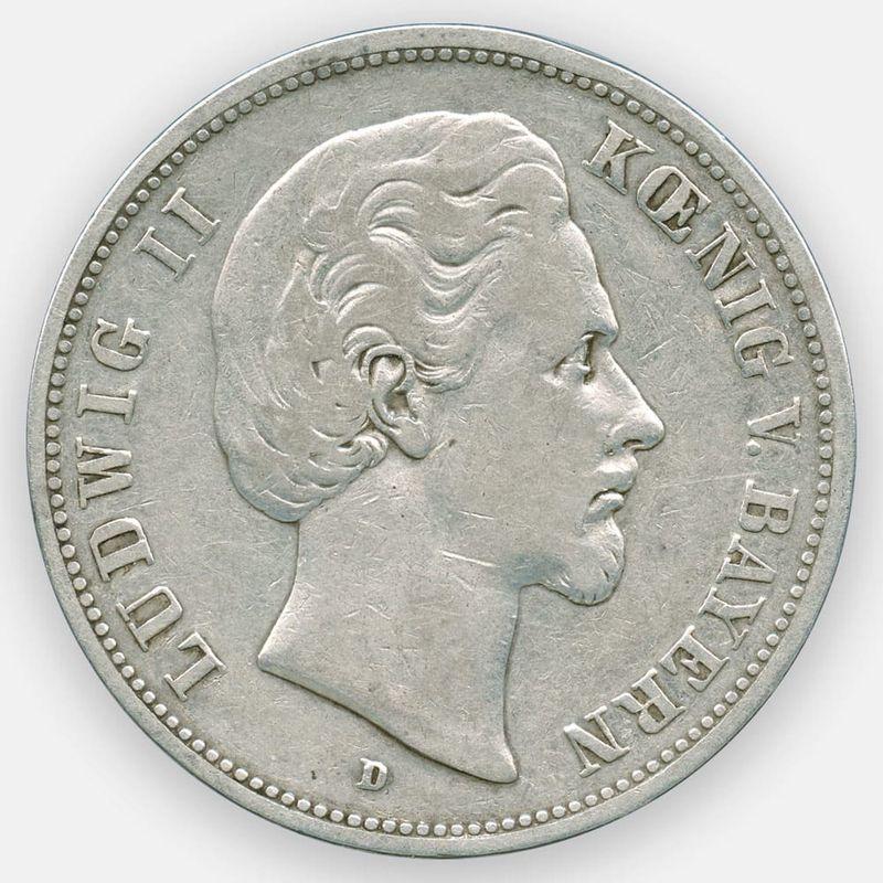 5 марок 1875Германия (Бавария) (Серебро 0,900 27,78 гр) (сост. Very Fine)