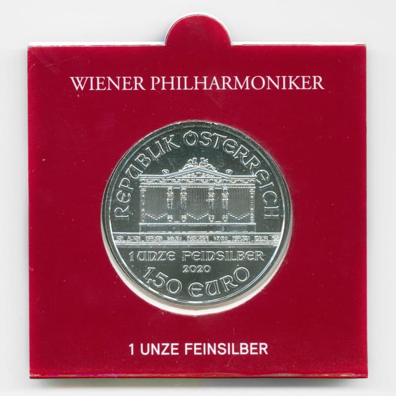 Венская филармония 1,5 евро 2020 Австрия (Серебро 0,999 1 oz)