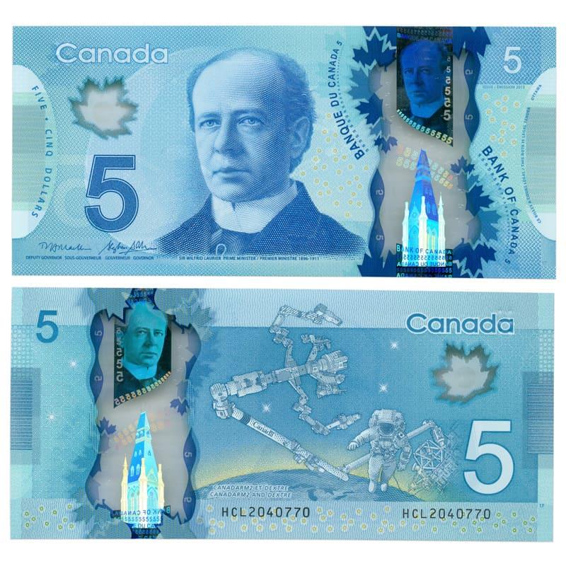 Банкнота 5 долларов 2013 Канада (сост. UNC)