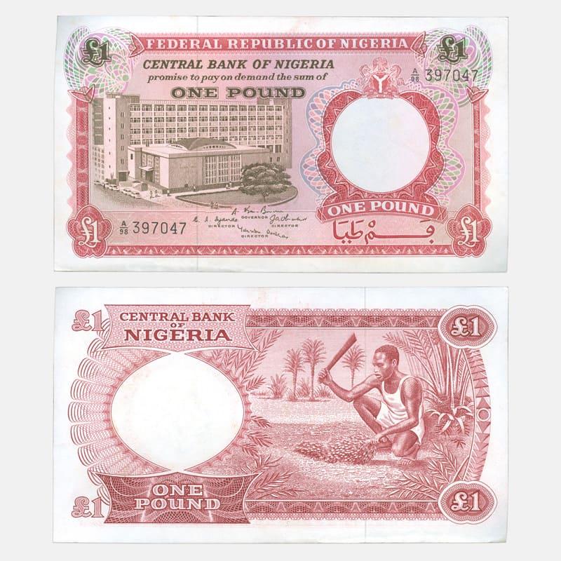 Банкнота 1 фунт 1967 Нигерия (сост. about UNC)